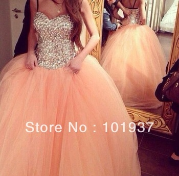 Aliexpress.com : Buy 2014 New Arrival Mermaid Shinning Crystal Beaded Sheer Top Robe De Soiree Long Prom Dresses Evening Gown from Reliable gown evening dress suppliers on Suzhou Babyonline Dress Co. , Ltd
