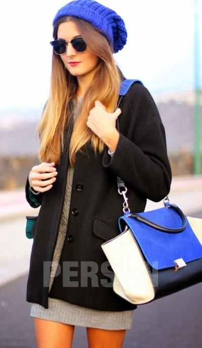Europe Color Block Bat Wings Handbag [FPB470] - PersunMall.com