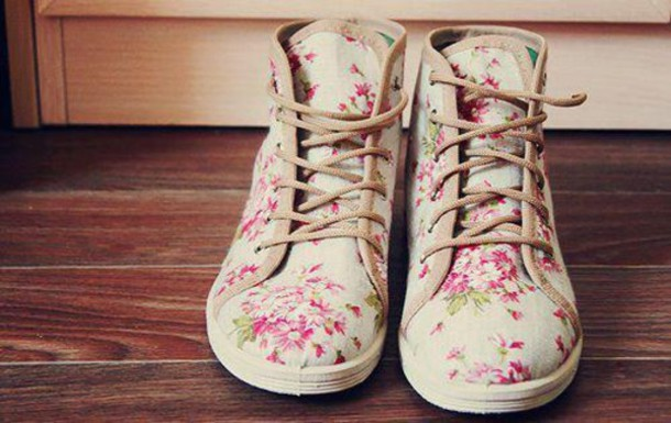 shoes, flowers, flowers, floral, design, print, white ...