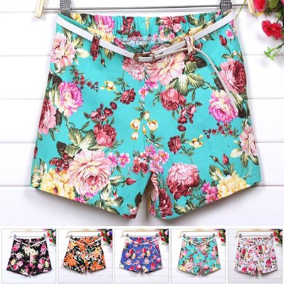 Summer Europe and America Style Colorful flower print shorts high Elastic waist large shorts women girl shorts pants   free belt-in Shorts from Apparel & Accessories on Aliexpress.com