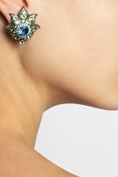 Lanvin | Udaipur gold-tone Swarovski crystal clip earrings | NET-A-PORTER.COM