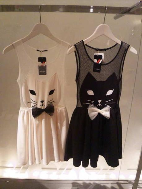 dress cats dress white dress short cats bow mini dress black white kitty dress little black dress cute dress cat dress cats lovely