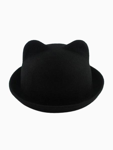 Black Roll Brim Felt Boater with Cat Ear | Choies