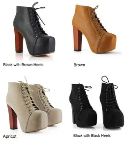 Hot Women Ladies Fashion Lita Platforms High Heels Lace Up Boots Ankle Shoes | eBay