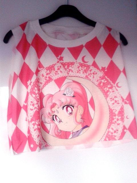 Handcut Magical Girl Sailor Moon 90's Pink Crop by FrontLawnUtopia