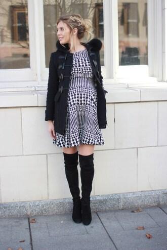 birdalamode blogger dress shoes coat mini dress thigh high boots boots black coat winter outfits
