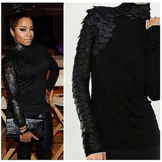 shirt black reptile blouse shift solid cute hurry me out ok