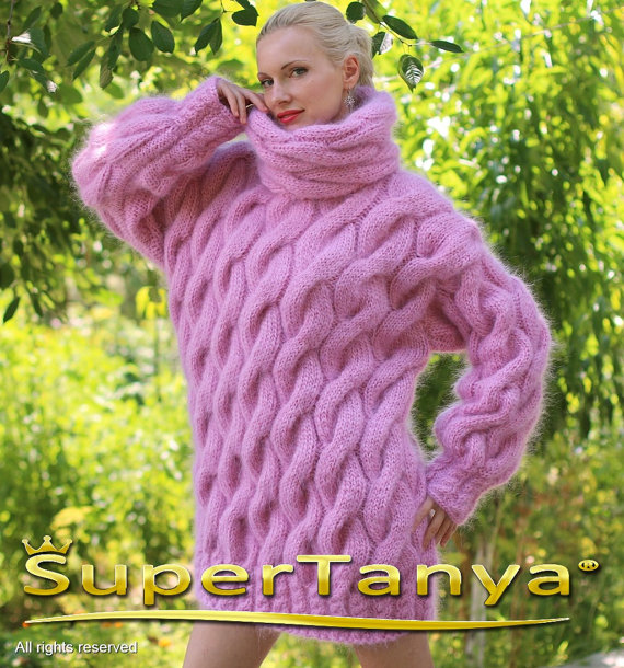 Extra thick pink hand knitted mohair sweater with by supertanya