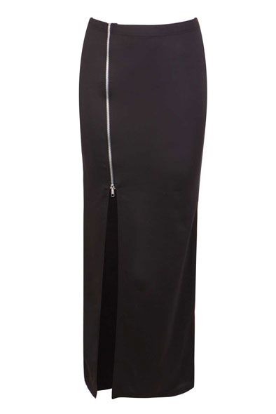 Deidra Maxi Skirt with Silver Zip and Side Split in Black at Fashion Union