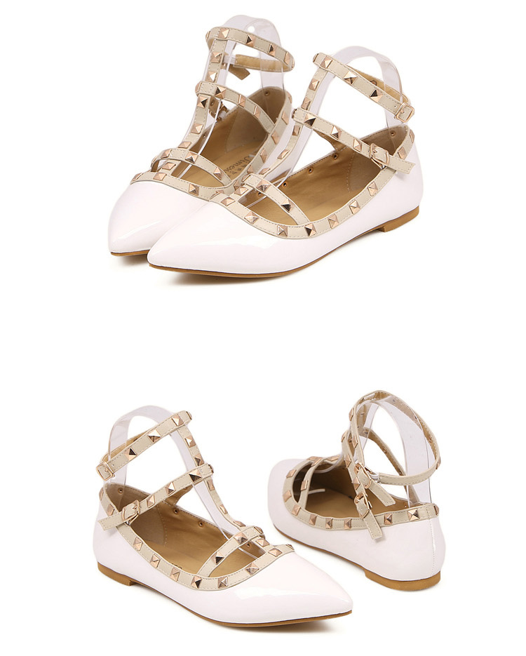 White Ankle Strap Flats with Studs [FABI1665] - PersunMall.com