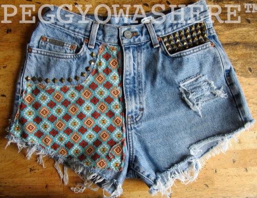 VTG Calvin Klein high waist cut offs denim shorts by PEGGYOWASHERE