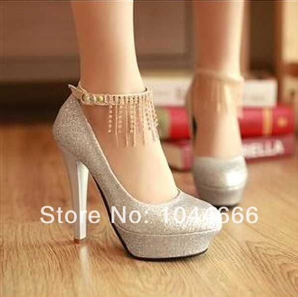 wedding shoes 2014 high heel silver gold red bridal shoes crystals party shoes-in Pumps from Shoes on Aliexpress.com