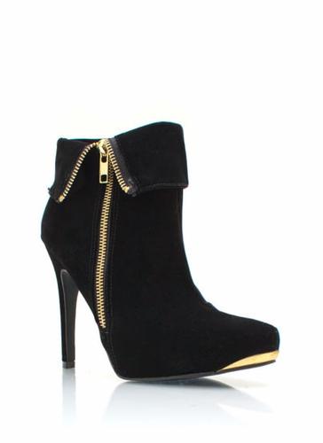 GJ | Zipped Up Velvet Booties $42.40 in BLACK TAUPE - Southwestern Princess | GoJane.com