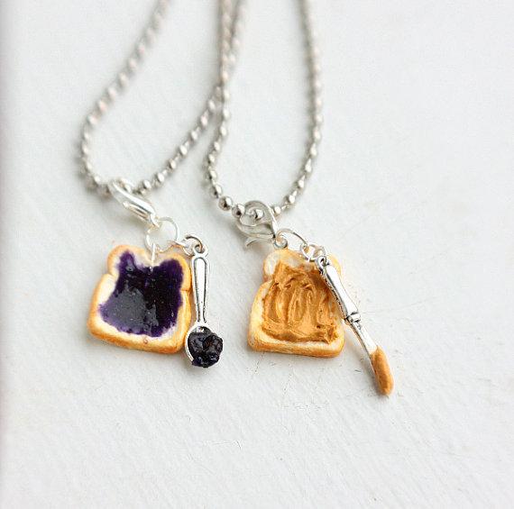 Peanut Butter Grape Jelly Best Friends Necklace  - Miniature Food Jewelry - Food Jewelry on Wanelo