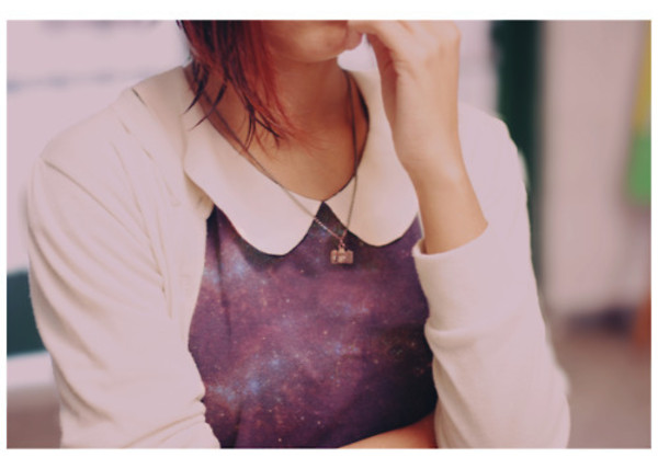 sweater jumper space galaxy print peter pan collar collar