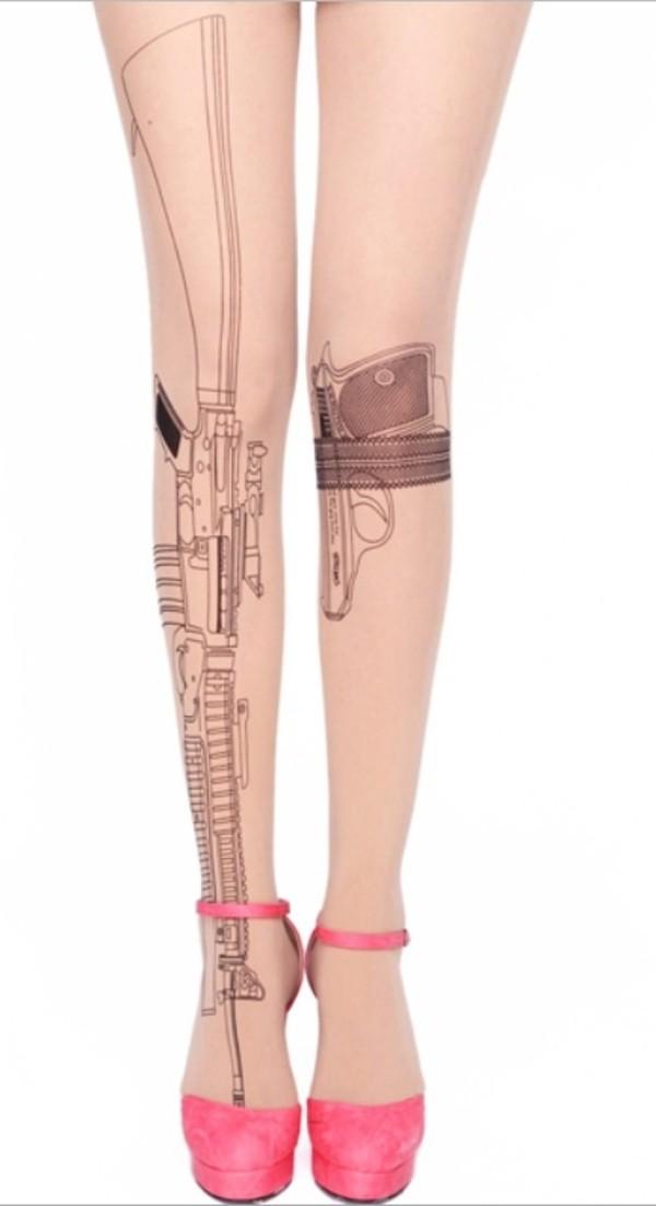 pants tights gun hot