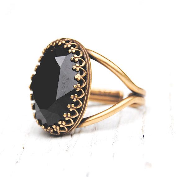 Black Crystal Cocktail Ring Adjustable Crown Ring by MASHUGANA