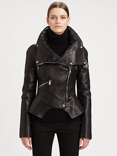 Alexander McQueen - Leather Motorcycle Jacket - Saks.com