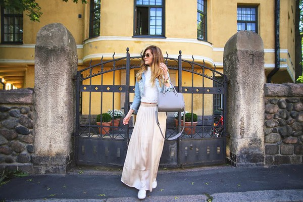 maria lilius skirt top jacket shoes bag sunglasses