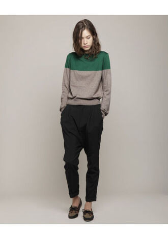 maille pull bicolor green sweater
