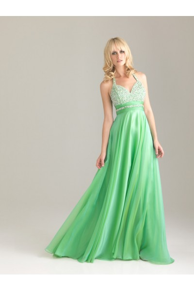 Prom dresses 2014 - Green/red/purple Halter Backless Chiffon Formal Prom Dress NY013