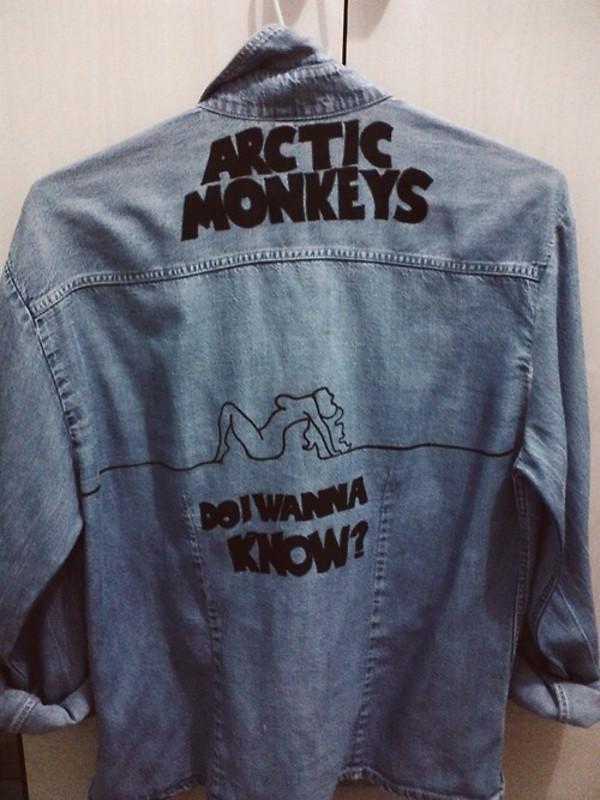 jacket coat arctic monkeys band t-shirt blouse jeans shirt band t-shirt band t-shirt denim jacket jeans jacket chanel denim arctic monkeys cutejeanjacket band t-shirt jeanjacket do i wanna know black writing blue band merch need it bad need it now