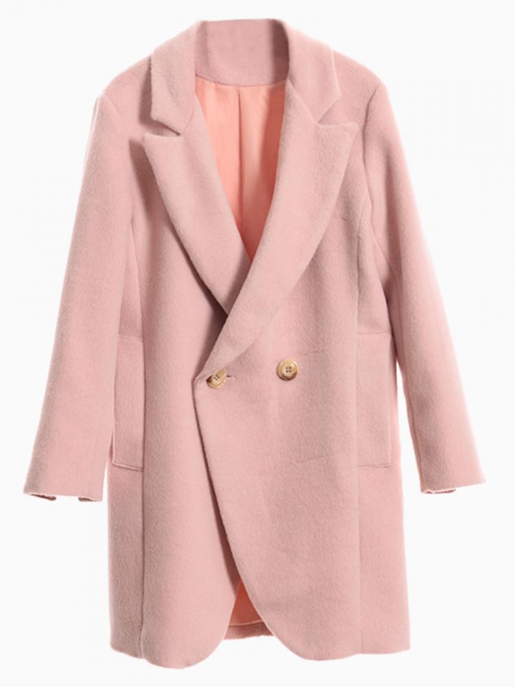 Pink Double Breast Woolen Blazer   Choies