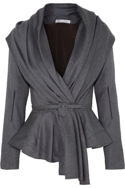 cardigan oscar de la renta skyline belted jacket wool blend