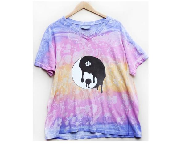 tie dye v neck v neck yin yang yin yang shirt yellow purple short sleeve t-shirt