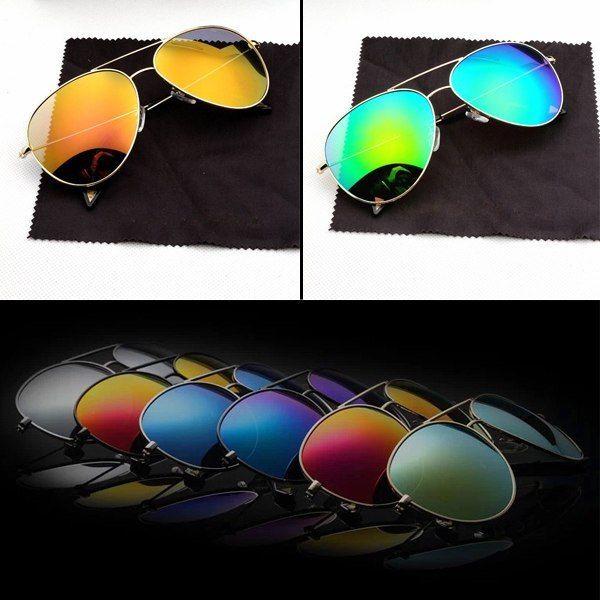 Aviator Classic Vintage Retro Pilot Sunglasses Mirror Lens Metal Shades Eyewear   eBay