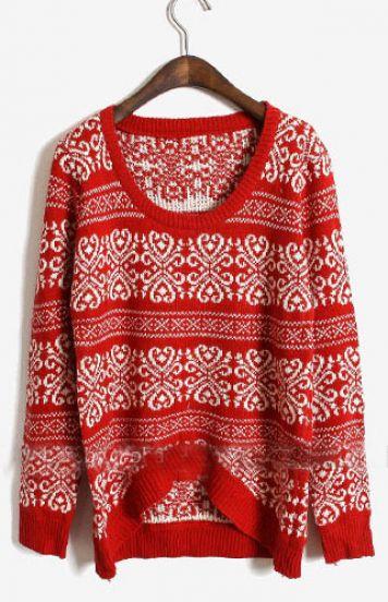 Red Long Sleeve Asymmetrical Floral Sweater - Sheinside.com
