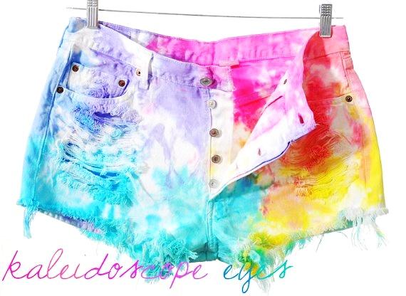 Levis 501 Rainbow Colorful Dyed TIE DYE Denim High Waist Cut off... - Shorts - Denim: Love it by Satyanah Airo