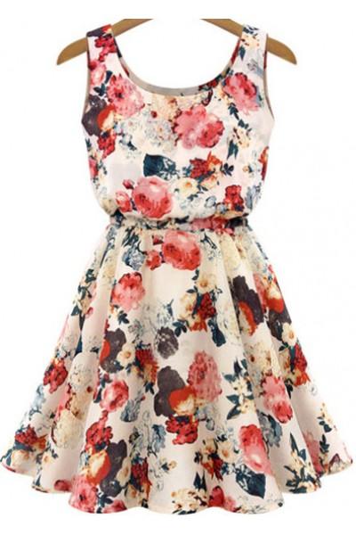 KCLOTH Floral Printed Summer Dress in Beige