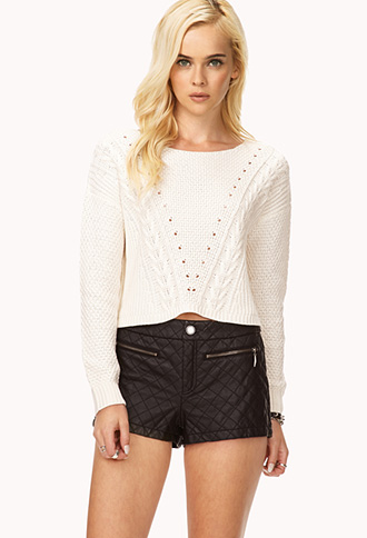 Quilted Faux Leather Shorts   FOREVER21 - 2072741561