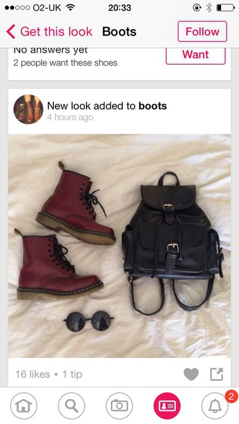 shoes round glasses backpack DrMartens burgandy boots