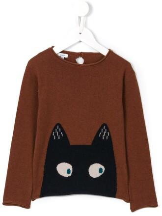 sweater cat sweater girl toddler brown