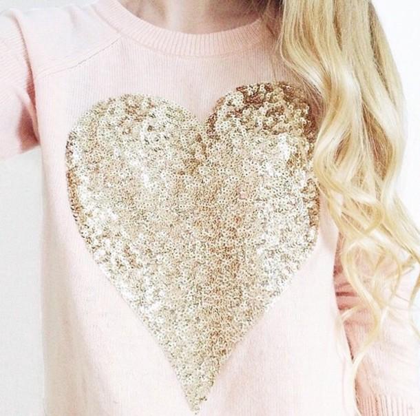 sweater top pink light pink light pink sweater heart sequins glitter gold cute cute sweatshirt girly winter top valentines day heart sweater