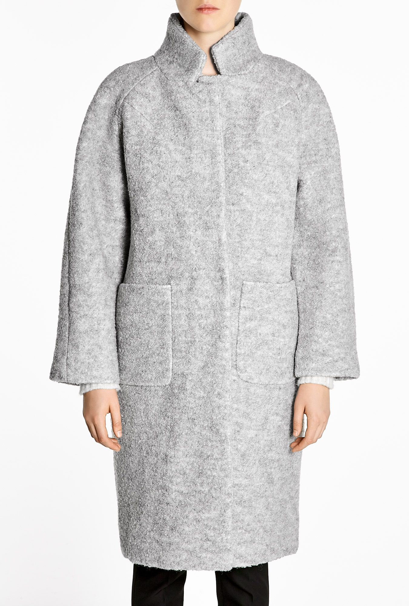 Ganni   Grey Melange Poodle Teddy Long Coat by Ganni