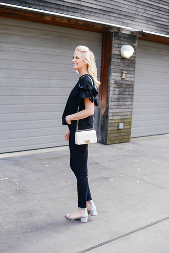 style archives | the style scribe blogger t-shirt chanel bag chanel blouse skinny jeans sandals