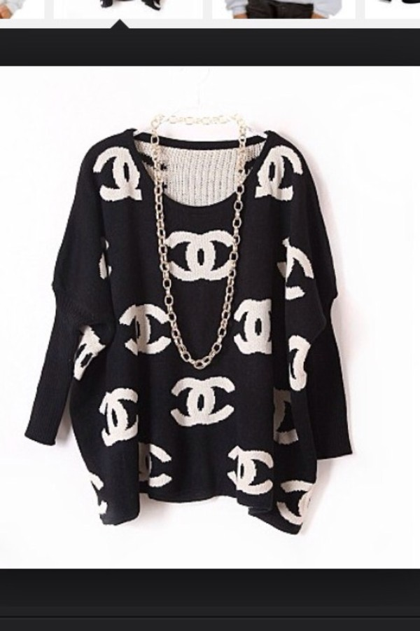 sweater b&w chanel pullover double c