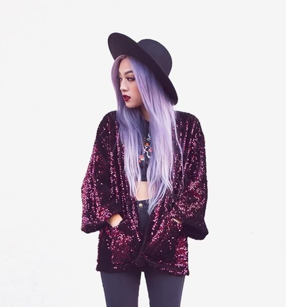 Cardigan kimono jacket style fashion purple pink glitter sequins - Wheretoget