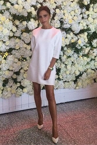 dress white all white everything victoria beckham pumps celebrities in white
