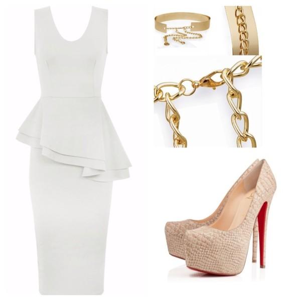 dress peplum dress prom dress white dress sexy party dresses bodycon