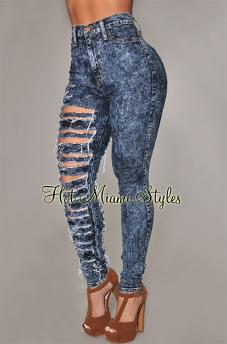 Dark Acid Wash Denim Single Destroyed Leg Skinny Jeans