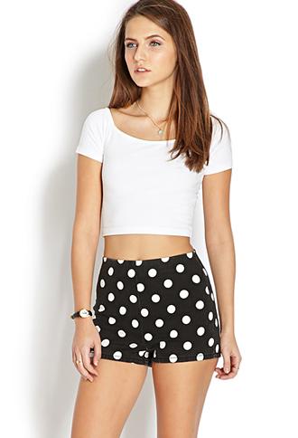 Mod Dots Denim Shorts | FOREVER21 - 2000109736