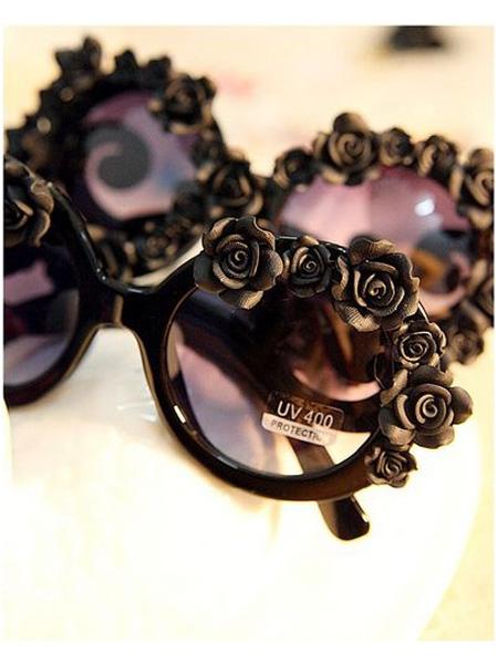 Black DIY Sunglasses With Flowers   Choies
