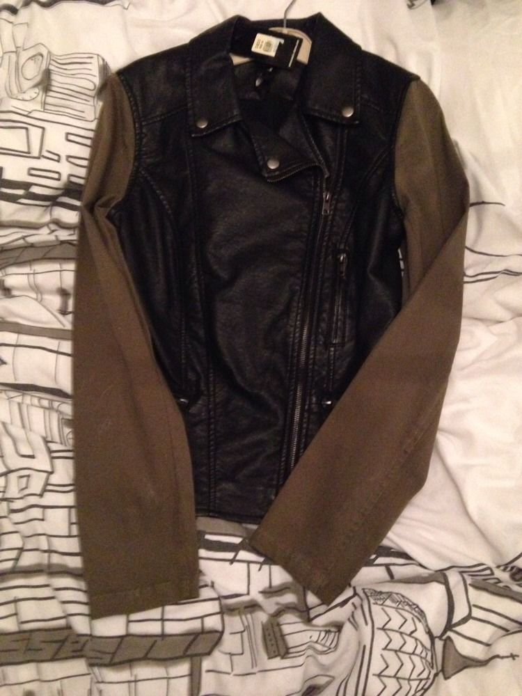 New Black Faux Leather Biker Jacket By Oasis ...with Khaki Arms .... | eBay