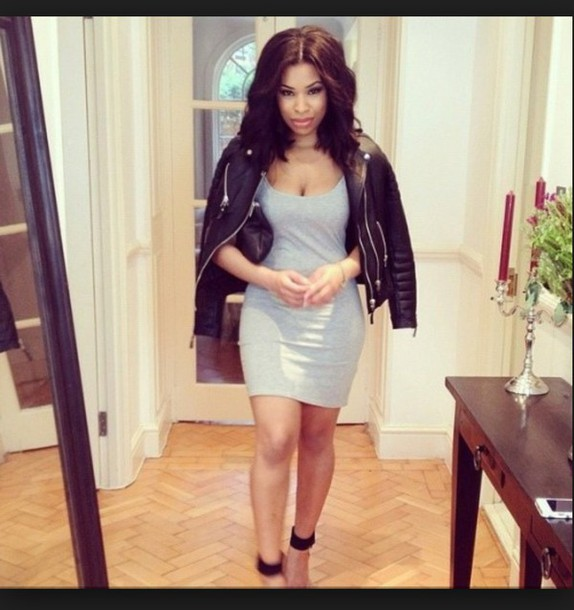 jacket black girls killin it bodycon dress leather jacket heels curly hair bag dress