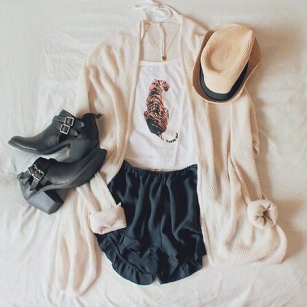 cardigan cream shirt