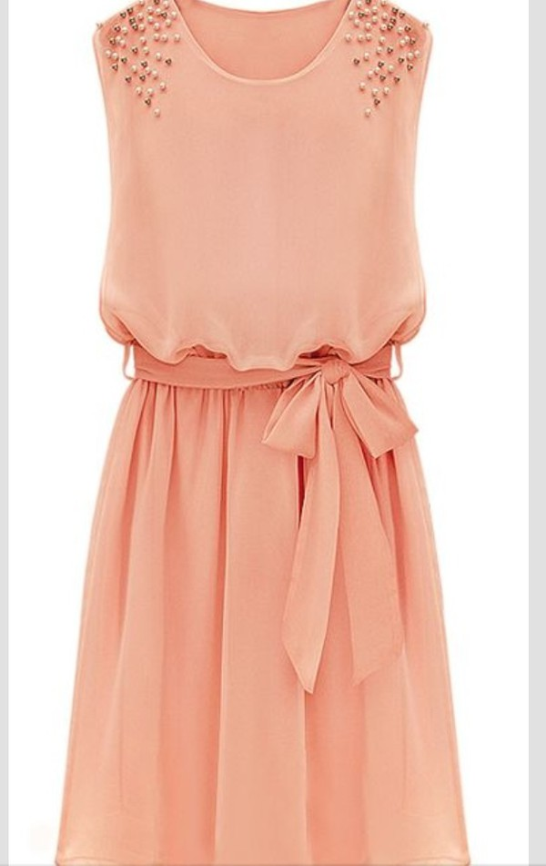 dress summer summer dress sequins peach dress